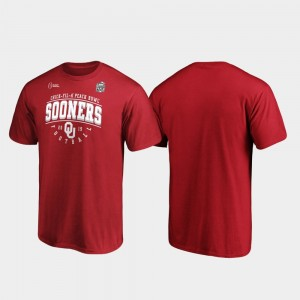 Mens Sooners College T-Shirt Primary Tackle 2019 Peach Bowl Bound Crimson