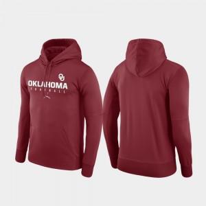 Mens Football Practice College Hoodie Crimson Performance University Of Oklahoma