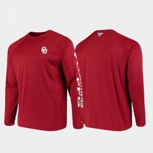 Crimson For Men's PFG Terminal Tackle Long Sleeve Omni-Shade OU Sooners College T-Shirt