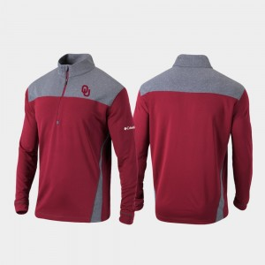 Mens Crimson Quarter-Zip Pullover College Jacket OU Omni-Wick Standard