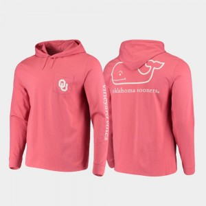 Hooded Long Sleeve Whale Crimson University Of Oklahoma College T-Shirt Mens