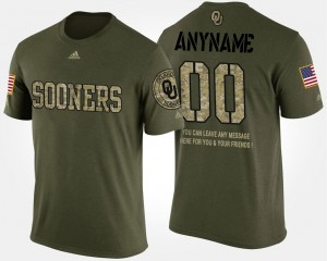 College Customized T-Shirt Camo For Men Short Sleeve With Message University Of Oklahoma #00 Military