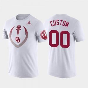 #00 Mens University Of Oklahoma Performance White College Custom T-Shirts Football Icon