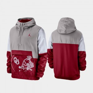 Oklahoma Gray Colorblock Anorak Quarter-Zip For Men's College Jacket