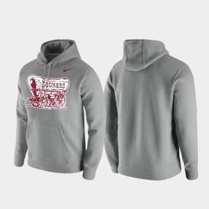 College Hoodie Club Fleece Vintage Logo For Men's Sooner Heathered Gray