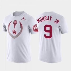 White For Men's Kenneth Murray College T-Shirt Football Icon #9 Sooner Performance