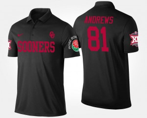 Black Oklahoma Sooners Mark Andrews College Polo Bowl Game For Men's #81 Big 12 Conference Rose Bowl
