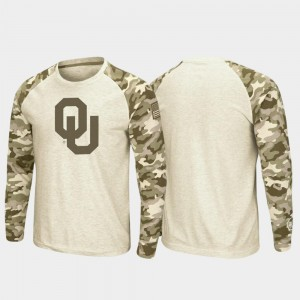 Sooner OHT Military Appreciation Oatmeal Raglan Long Sleeve Desert Camo For Men's College T-Shirt