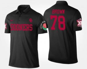 Men's Bowl Game Black Big 12 Conference Rose Bowl #78 Orlando Brown College Polo Sooners