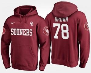 Men's Orlando Brown College Hoodie #78 University Of Oklahoma Crimson