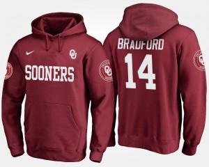 Crimson Sooner For Men #14 Sam Bradford College Hoodie