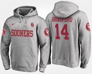 Men's #14 Gray University Of Oklahoma Sam Bradford College Hoodie