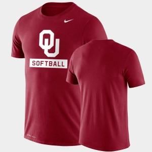 Performance Softball Crimson College T-Shirt Drop Legend Sooners For Men's