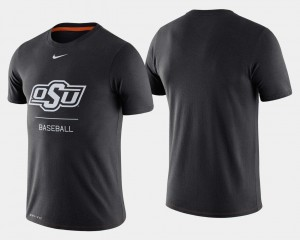 Baseball College T-Shirt For Men's Oklahoma State University Dugout Performance Black