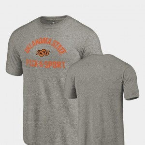 College T-Shirt For Men Oklahoma State Cowboys Gray Pick-A-Sport Tri-Blend Distressed