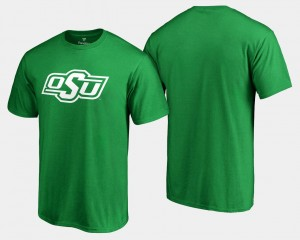 Mens College T-Shirt White Logo Big & Tall St. Patrick's Day Kelly Green OK State