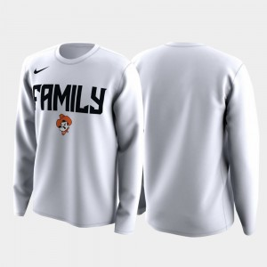 Oklahoma State Cowboys White Men's College T-Shirt Family on Court March Madness Legend Basketball Long Sleeve