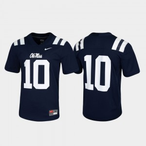 Navy College Jersey University of Mississippi #10 Men Game Untouchable