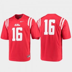 For Men's College Jersey Ole Miss Football #16 Game Red