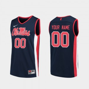College Customized Jerseys Men's #00 Ole Miss Rebels Navy Replica Basketball
