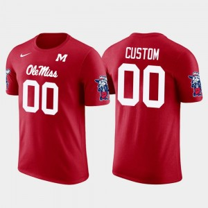 For Men Red College Custom T-Shirt Future Stars #00 Ole Miss Cotton Football