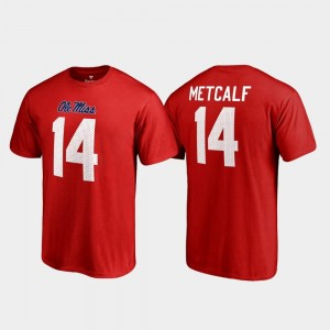 For Men #14 Name & Number Ole Miss Red Legends DK Metcalf College T-Shirt