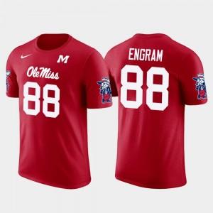 New York Giants Football #88 Men's Red Evan Engram College T-Shirt Future Stars Ole Miss