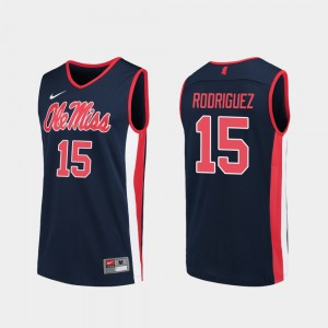 Luis Rodriguez College Jersey Basketball Replica Mens Ole Miss Navy #15