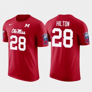 For Men's Pittsburgh Steelers Football Future Stars Mike Hilton College T-Shirt #28 Red Ole Miss