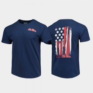 Men Navy College T-Shirt Comfort Colors Baseball Flag Ole Miss