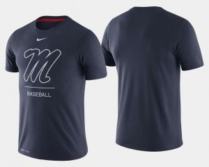 For Men Navy College T-Shirt Baseball Dugout Performance University of Mississippi