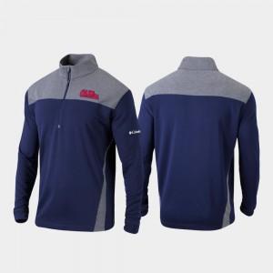 College Jacket Ole Miss Quarter-Zip Pullover Omni-Wick Standard For Men's Navy