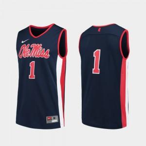 Men's University of Mississippi Navy #1 Basketball Replica College Jersey