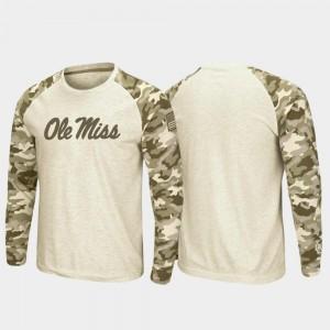 Oatmeal College T-Shirt Raglan Long Sleeve Desert Camo Ole Miss Rebels For Men OHT Military Appreciation