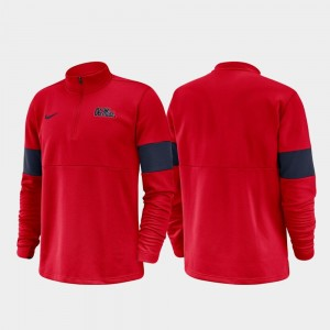 2019 Coaches Sideline Half-Zip Performance Ole Miss College Jacket For Men's Red