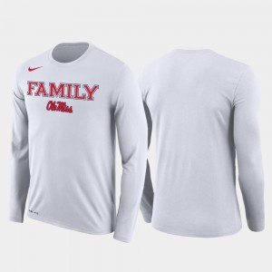 College T-Shirt Ole Miss Rebels For Men's Family on Court March Madness Basketball Performance Long Sleeve White