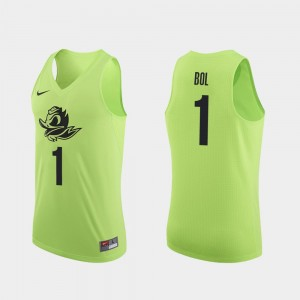 Apple Green Bol Bol College Jersey Men Authentic #1 Oregon Basketball
