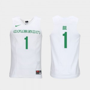#1 Authentic Performace Oregon Ducks Men's Elite Authentic Performance Basketball White Bol Bol College Jersey