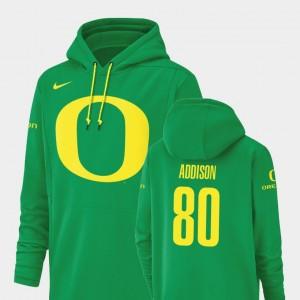 Ducks Bryan Addison College Hoodie #80 Champ Drive Green Football Performance Men