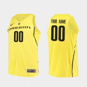 Basketball #00 Yellow College Customized Jerseys Men's Authentic University of Oregon