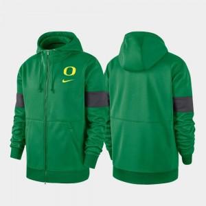 University of Oregon Green Performance Full-Zip 2019 Sideline Therma-FIT College Hoodie Men
