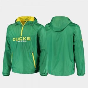 For Men College Jacket Half-Zip Base Runner Green Ducks