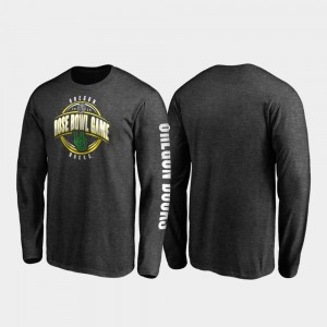 Mens College T-Shirt Heather Charcoal 2020 Rose Bowl Bound University of Oregon Neutral Stiff Arm Long Sleeve