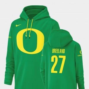 Green #27 Jacob Breeland College Hoodie Mens Football Performance Champ Drive Oregon
