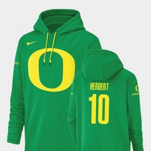 Men's Green Football Performance Justin Herbert College Hoodie Oregon #10 Champ Drive