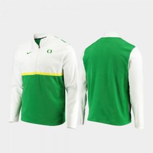 For Men's Quarter-Zip Pullover Color Block College Jacket White Green University of Oregon