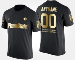 Gold Limited College Customized T-Shirts Black Nittany Lions Men's Short Sleeve With Message #00