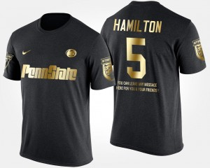 Men #5 Gold Limited Short Sleeve With Message Black DaeSean Hamilton College T-Shirt Nittany Lions