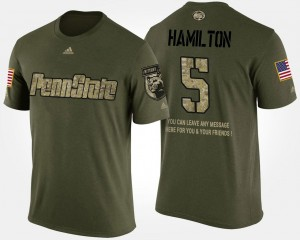 Penn State Nittany Lions DaeSean Hamilton College T-Shirt Camo Mens #5 Short Sleeve With Message Military