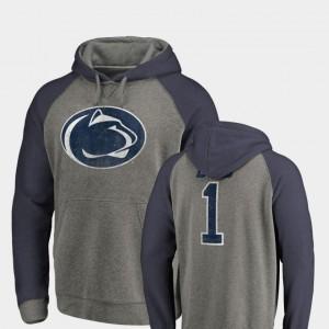 Greatest Dad Heathered Gray College Hoodie Men's Penn State Nittany Lions Raglan Tri-Blend Big & Tall